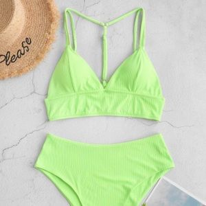 Zaful - Neon Green Bikini ~ High Waist